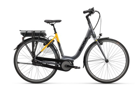 Koga E-Nova Automatic 1, accu 500Wh, high-tech grey metallic/lemon curry matt, Dames, D47 voor lengte: 155 - 165cm